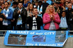 Man City fans show their support forclub and country No 1 choice, Joe Hart