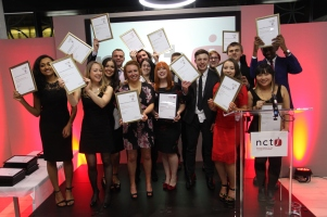 Cat surrounded by fellow winners of the 2015 NCTJ Awards for Excellence hosted in the Library of Birmingham, Nov 2015