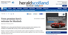 In Lockerbie covering the support for Team GB's Olympic curling final for Herald Scotland, Feb 2014