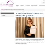 The night of the NCTJ Awards for Excellence, having just received the national award for Best Multimedia Campaign for Dearest Scotland, Nov 2014