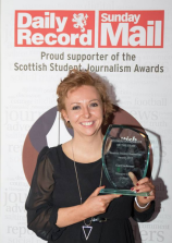 Cat pictured with the Scottish Student Journalist of the Year Award 2015