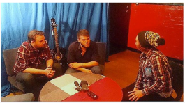 Interviewing Scott and Grant Hutchison from Frightened Rabbit for the Clutha, a Celebration documentary at the Glasgow Barrowland, Feb 2014